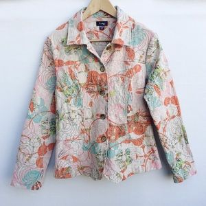 Analogy abstract print embroidered blazer.